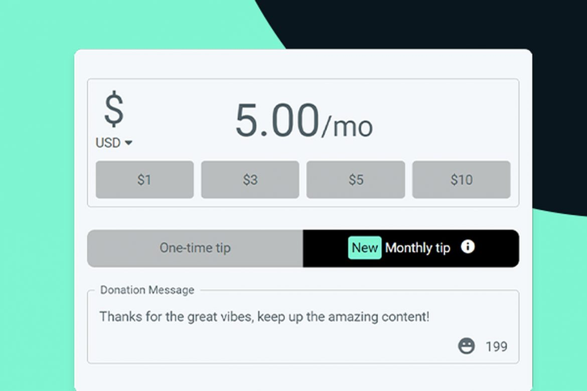 Streamlabs launches monthly tipping service as an alternative to Twitch subscriptions