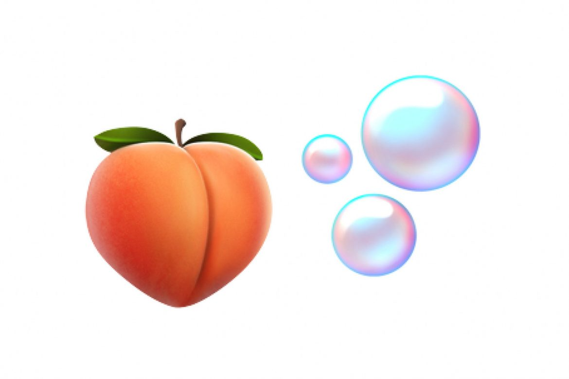 There's a new bubbles emoji that'll go just great with the peach